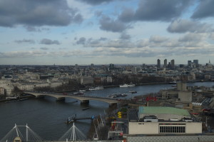 See the dark clouds form London Eye. We took the fast track to avoid the queue.