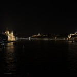 Parliament from margaret bridge in Budapest - night scene.