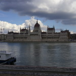 Parliament of Budapest on a cloudy day.